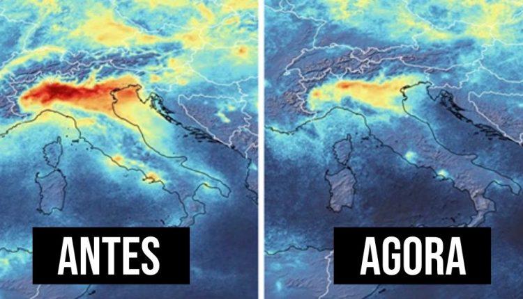 Imagens de satélite revelam redução na poluição durante quarentena na Itália